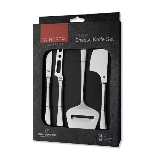 Four piece stainless steel cheese knife set