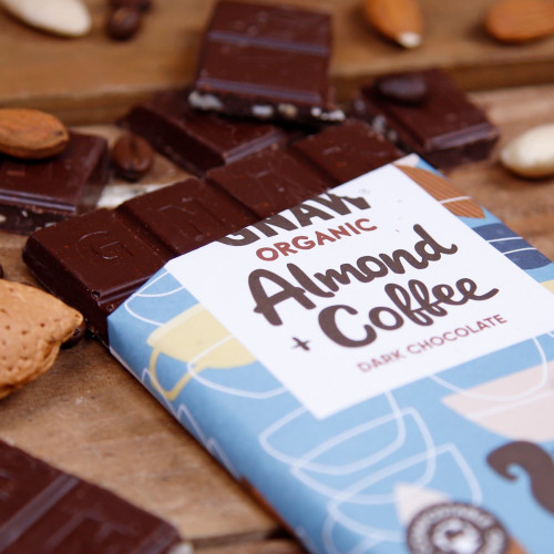 Organic Almond & Coffee Dark Chocolate Bar