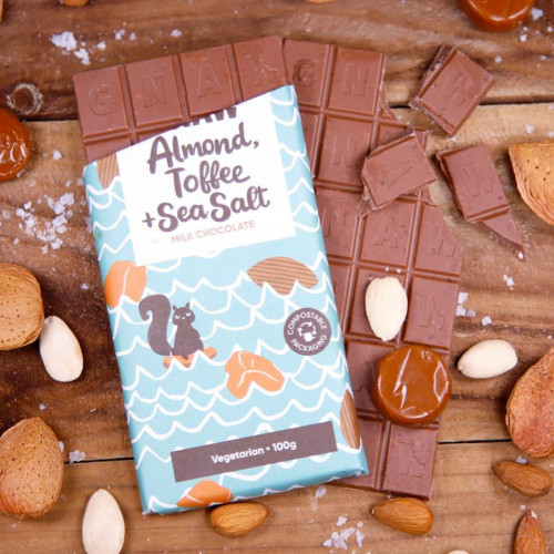 Almond, Toffee & Sea Salt Milk Chocolate Bar