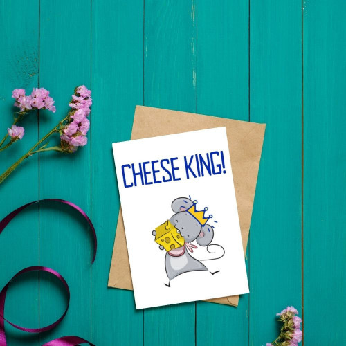 Funny Cheese King Greeting Card
