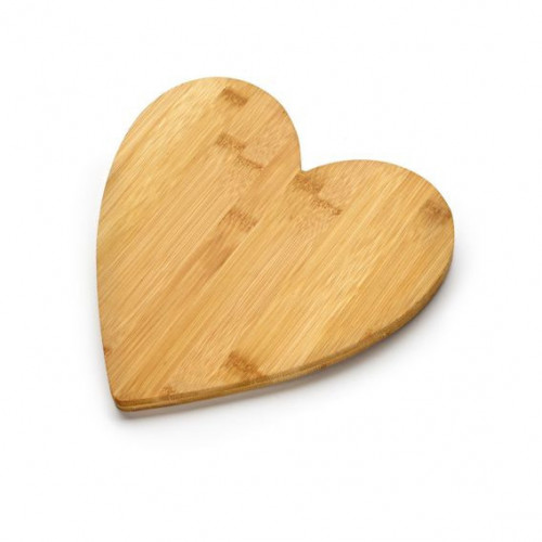 Heart Shaped Bamboo Cheese Board on white background