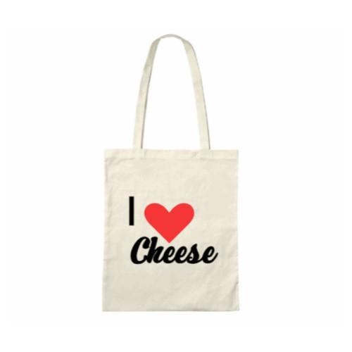 I 'Heart' Cheese Printed Tote Bag