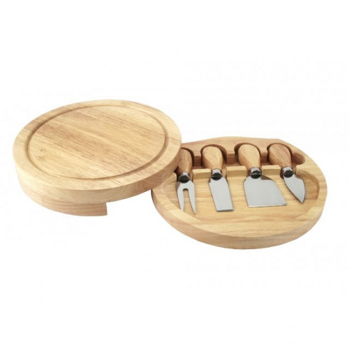 Wooden Cheese board and 4 stainless steel knives
