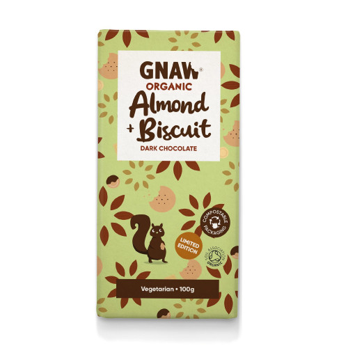 Organic Almond & Biscuit Dark Chocolate Bar