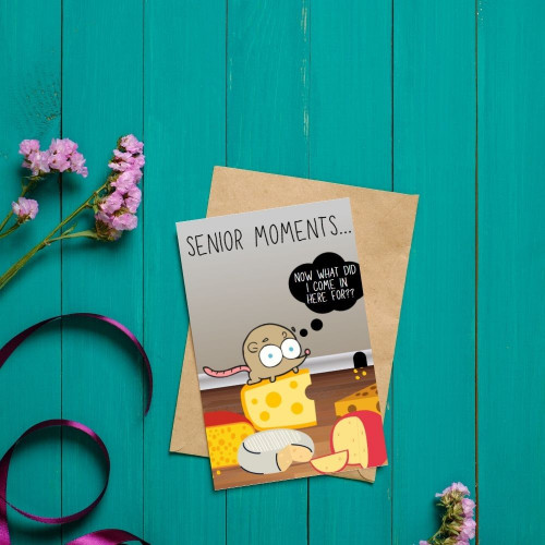 Senior Moments - Cheese Inspired Greeting Card.